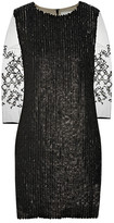 Mesh-sleeved leather paillette dress