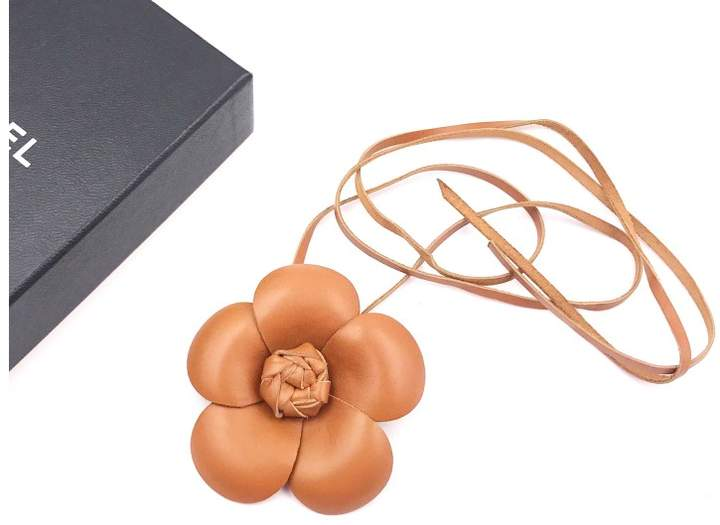 Chanel Brown Camellia Flower Leather Tie Necklace
