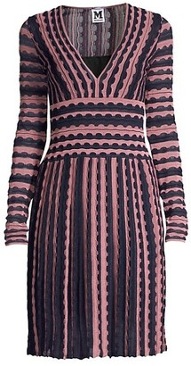 M Missoni Striped Lace Eyelet V-Neck A-Line Dress