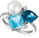 LeVian Le Vian® London Blue Topaz (1-3/4 ct. t.w.), Blue Topaz (2-1/3 ct. t.w.), Cultured Freshwater Pearl (9mm) and Diamond (1/4 ct. t.w.) Ring in 14k White Gold