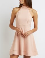 Charlotte Russe Mock Neck Halter Skater Dress