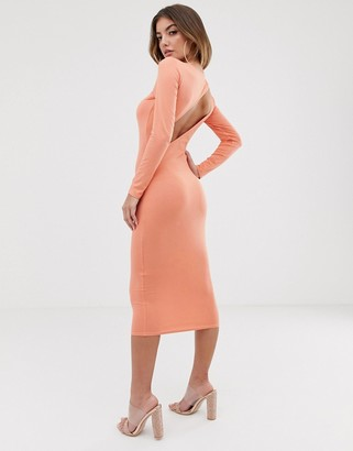 Asos Design DESIGN going out long sleeve backless bodycon midi dress-Orange