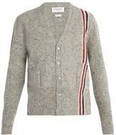 THOM BROWNE V-neck stripe-detail wool mohair-blend cardigan