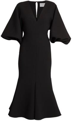 Valentino Puff-Sleeve Wool-Blend Mermaid Midi Dress