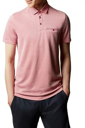 Ted Baker Mens Jetoff Woven Collar Soft Touch Polo - Pink