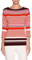 Piazza Sempione Striped Boat-Neck 3/4-Sleeve Tee, Plum/Pink/White