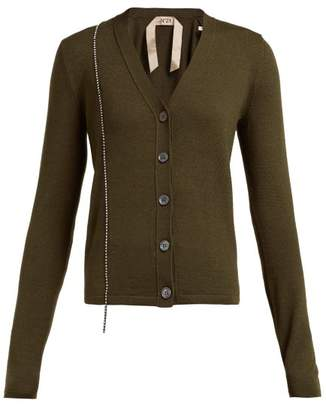 No.21 No. 21 - Crystal-embellished Wool-blend Cardigan - Womens - Green