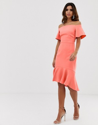 Vesper off shoulder dip hem midi dress