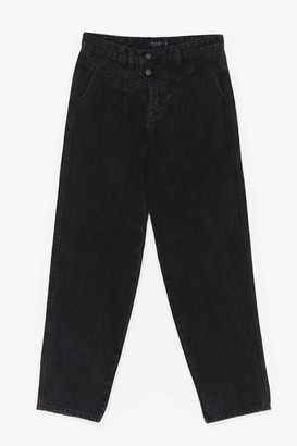 Nasty Gal Womens So It Seams High-Waisted Straight Leg Jeans - Washed Black