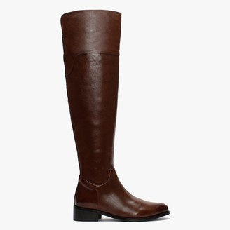 Daniel Sesta Tan Leather Over The Knee Boots