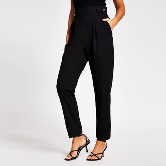 River Island Womens Black button waist pleated peg trousers
