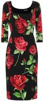Dolce & Gabbana Floral stretch-silk crepe dress