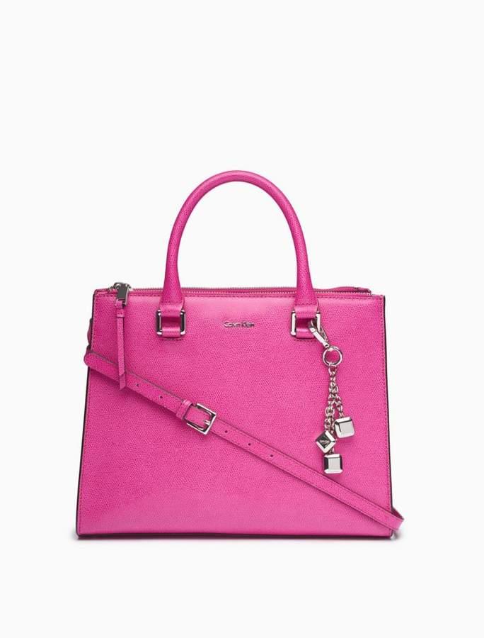 Calvin Klein saffiano leather dual zip satchel