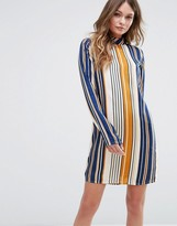 Vila Striped High Neck Dress