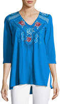 Johnny Was V-Neck Embroidered-Yoke Tunic, Blue