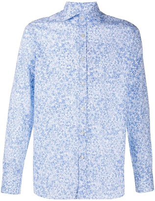 Canali Floral Print Curved Hem Shirt