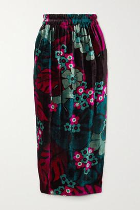 Dries Van Noten Floral-print Velvet Midi Skirt - Fuchsia