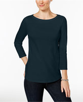 Charter Club Boat-Neck Button-Shoulder Top, Only at Macy's