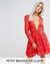 John Zack Petite Allover Geo Lace Full Prom Skater Dress With Plunge Front