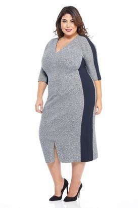 Maggy London Plus Size Women's arc Shoulder Texture midi Sheath