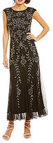 Pisarro Nights Floral-Beaded Cap Sleeve Gown