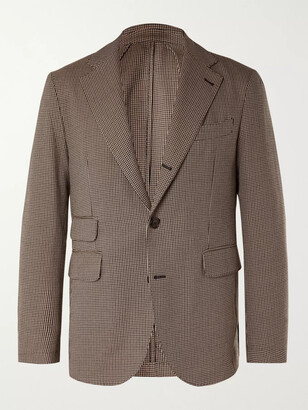 Man 1924 Brown Kennedy Slim-Fit Unstructured Puppytooth Wool And Cotton-Blend Suit Jacket