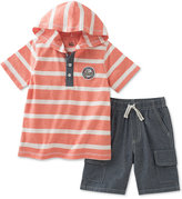 Kids Headquarters 2-Pc. Hooded Striped Shirt & Cargo Shorts Set, Baby Boys (0-24 months)