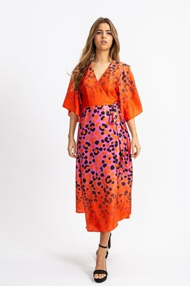 Liquorish Kimono Midi Wrap Dress in Orange and Pink Ombre Leopard Print