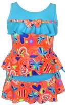 Pointss Girl's Solid Flounce Two Piece Swimsuit Flower Tankini Bikini Set