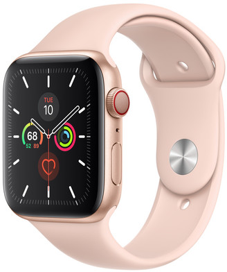 Apple Watch Series 5 GPS + Cellular, 44mm Gold Aluminum Case with Pink Sand Sport Band - S/M & M/L