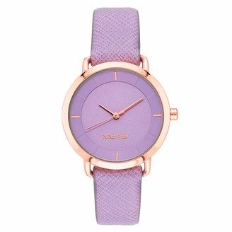 Nine West Women's Rose Gold-Tone and Lavender Textured Strap Watch NW/2438RGLV