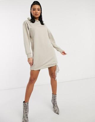 Asos DESIGN hoodie sweat dress in oatmeal marl