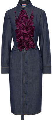 Acne Studios Kruella Belted Ruffled Velvet-trimmed Denim Shirt Dress