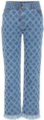 Balmain Laser-cut high-rise straight jeans