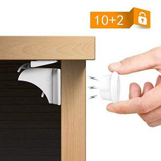 Calish Child Safety Magnetic Cupboard Locks No Tools Or Screws Needed (10 Locks + 2 Keys)