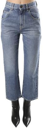 Saint Laurent 70s Cropped Jeans In Blue Denim