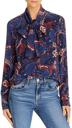 See by Chloe Tie-Neck Paisley-Silk Blouse