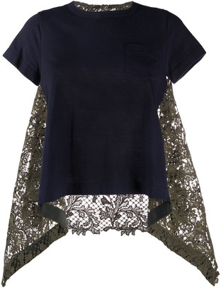 Sacai draped lace inserts T-shirt