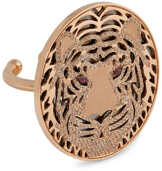 Bee Goddess Rose Gold, Diamond and Ruby Light Forrest Tiger Ring (One Size)