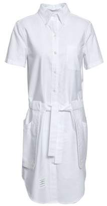 Thom Browne Belted Cotton Oxford Shirt Dress