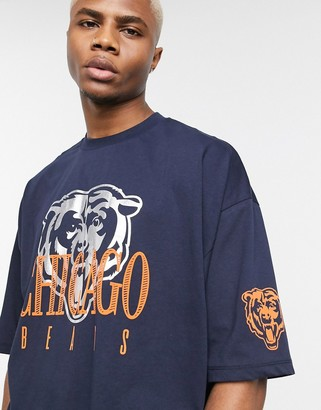 Asos Design DESIGN NFL Chicago Bears oversized t-shirt with foil front print and sleeve print-Navy