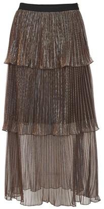 Self-Portrait Metallic midi skirt