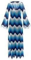 Mary Katrantzou Rolling In The Deep Wave-crochet Dress - Womens - Blue Multi