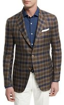 Isaia Large Check Two-Button Sport Coat, Brown/Navy