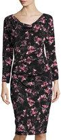 T Tahari Johanna Floral-Print Dress, Black Pattern