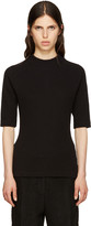 MM6 MAISON MARGIELA Black Waffle Cotton T-shirt