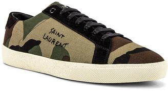Saint Laurent SL06 Signa Low Top Sneaker in Khaki & Black | FWRD
