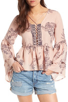 SUN AND SHADOW Tiered Sleeve Lace-Up Top