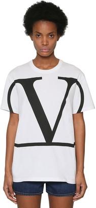 Valentino V Logo Print Cotton Jersey T-shirt