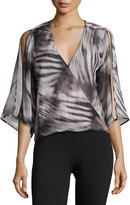 Halston Split-Sleeve Wrap Blouse, Black Pattern